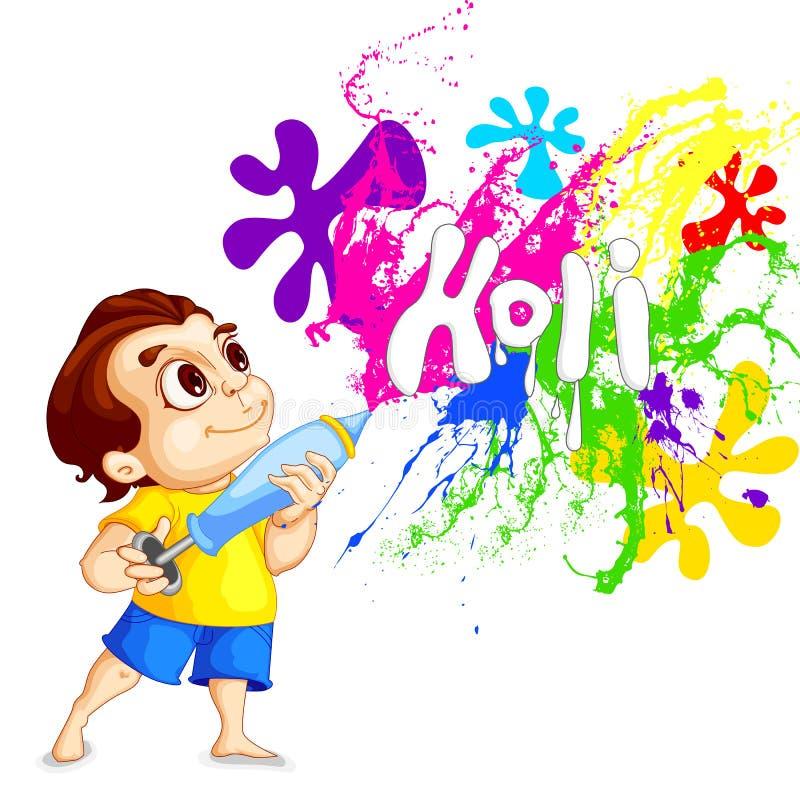 Bambini che giocano festival di Holi illustrazione vettoriale
