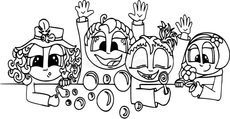 Bambini che giocano, gente felice Modello piano di stile, personaggi dei cartoni animati, isolato, coloranti royalty illustrazione gratis