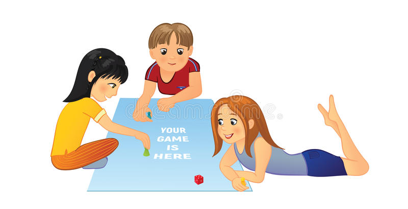 Bambini che giocano gioco da tavolo illustrazione vettoriale