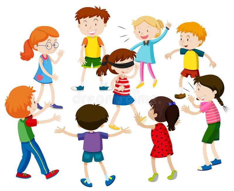 Bambini che giocano i ciechi piegati illustrazione di stock