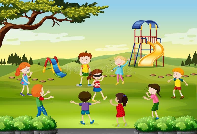 Bambini che giocano i ciechi piegati nel parco illustrazione di stock