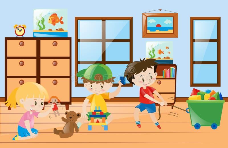 Bambini che giocano i giocattoli dentro la stanza royalty illustrazione gratis