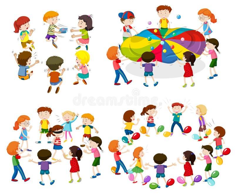 Bambini che giocano i giochi differenti royalty illustrazione gratis