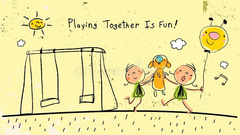 Bambini che giocano insieme all'aperto, cantando royalty illustrazione gratis