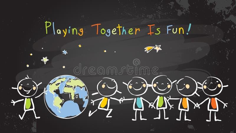 Bambini che giocano insieme per la pace, lavoro di squadra illustrazione vettoriale