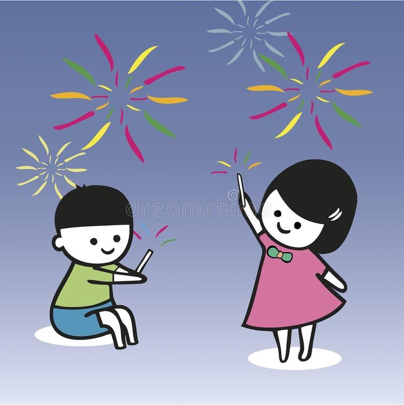 Bambini che giocano le stelle filante nel festival di Loy Kratong royalty illustrazione gratis