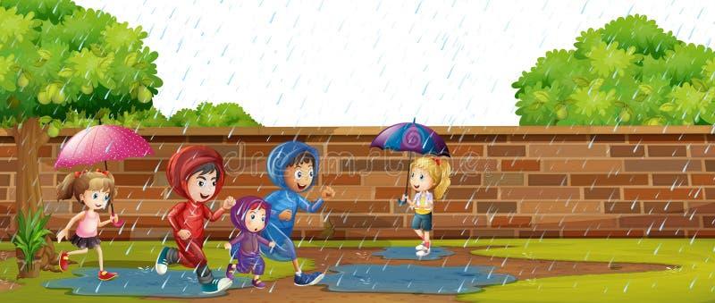 Bambini che giocano nella pioggia illustrazione vettoriale