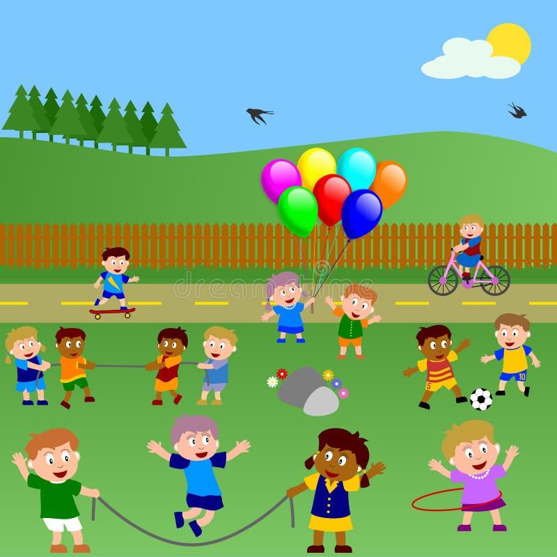 Bambini che giocano nella sosta illustrazione di stock