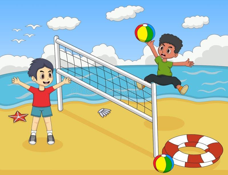 Bambini che giocano pallavolo sull'illustrazione di vettore del fumetto della spiaggia illustrazione di stock