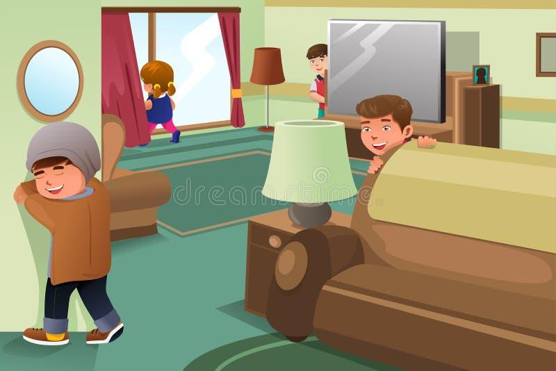 Bambini che giocano pellame - e - ricerca illustrazione vettoriale