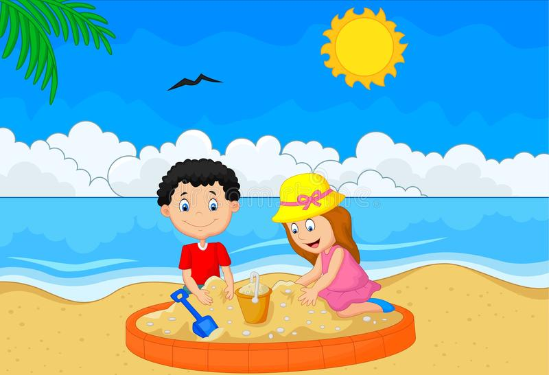 Bambini che giocano sabbia alla spiaggia tropicale royalty illustrazione gratis
