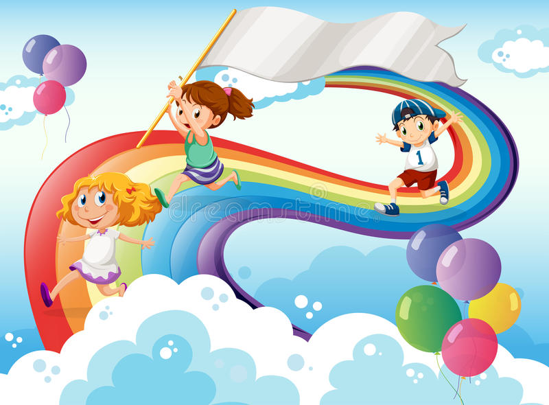 Bambini che giocano sopra l'arcobaleno con un'insegna vuota illustrazione vettoriale