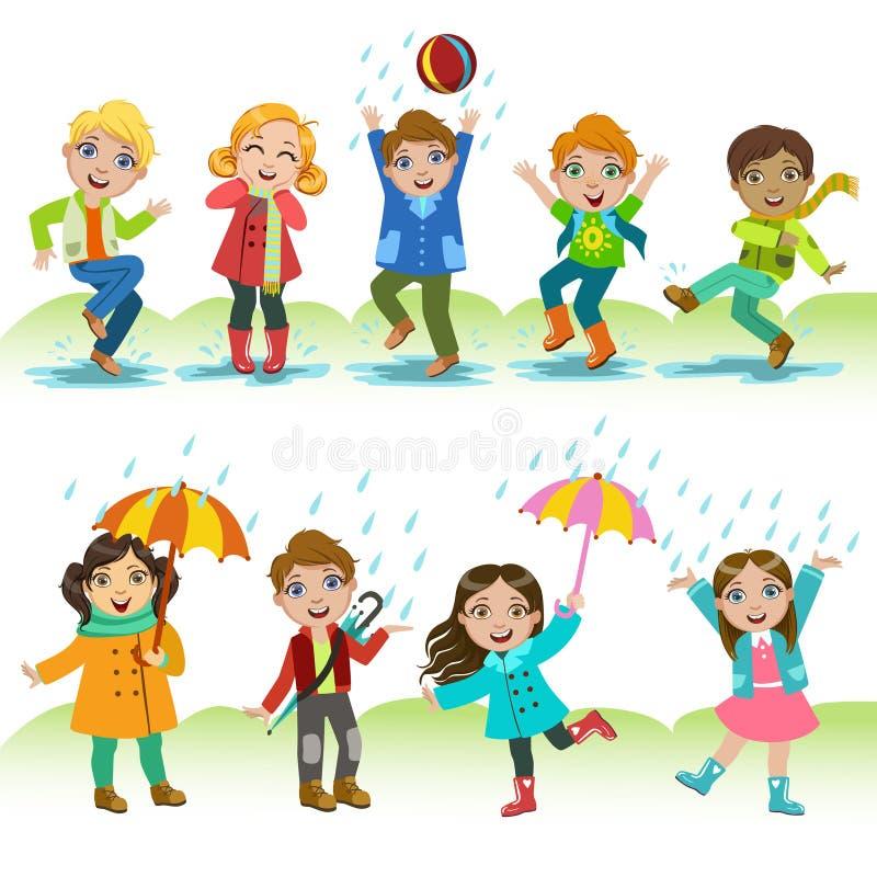 Bambini che giocano sotto la pioggia royalty illustrazione gratis