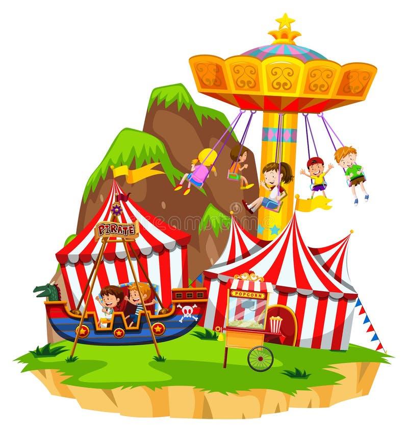 Bambini che giocano sui giri in parco di divertimenti illustrazione vettoriale