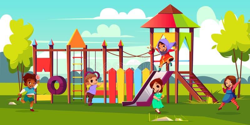 Bambini che giocano sul vettore del fumetto del campo da giuoco del parco illustrazione vettoriale