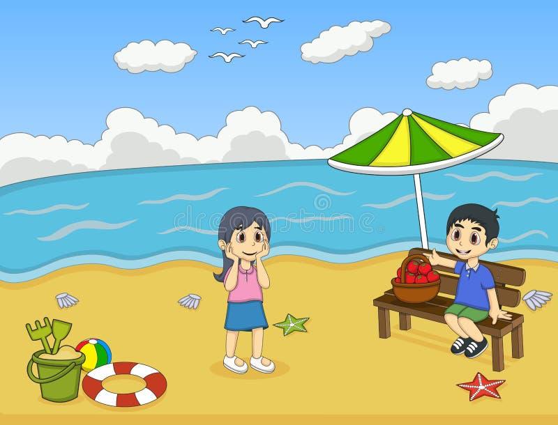 Bambini che giocano sull'illustrazione di vettore del fumetto della spiaggia royalty illustrazione gratis