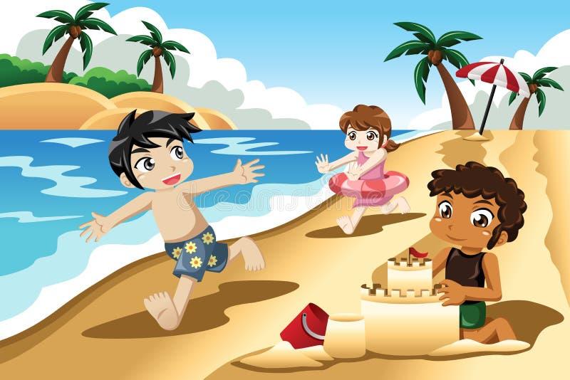 Bambini che giocano sulla spiaggia royalty illustrazione gratis