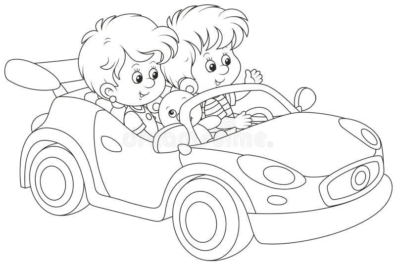 Bambini che giocano in un'automobile sportiva del giocattolo illustrazione di stock