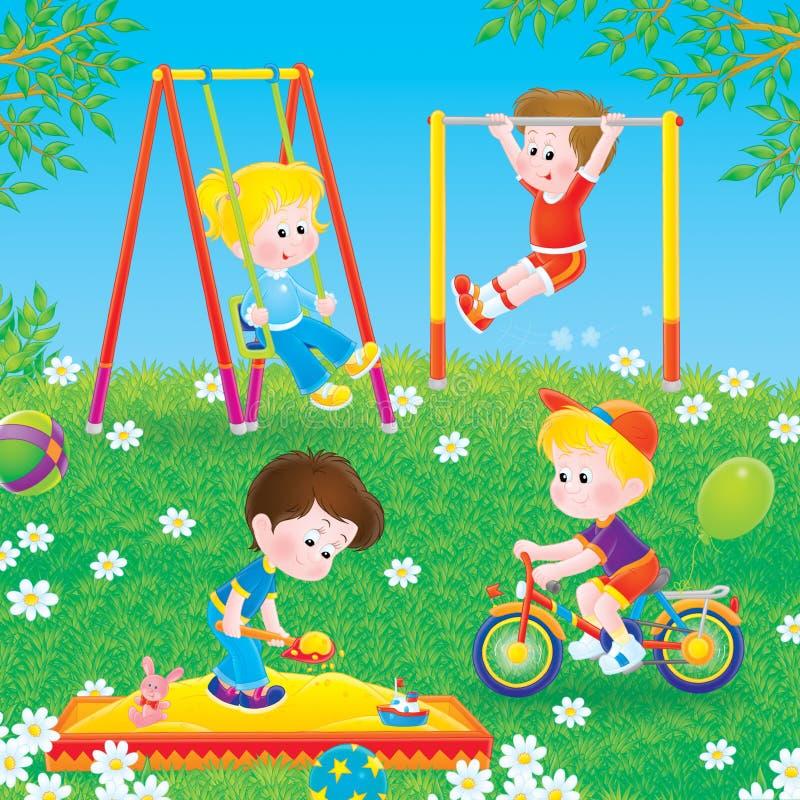 Bambini che giocano in un campo da giuoco illustrazione di stock