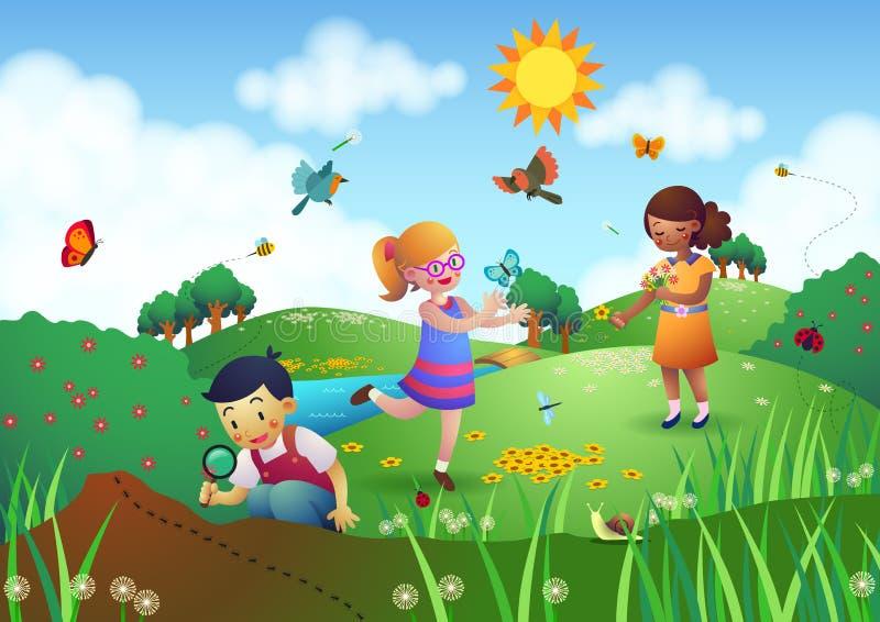 Bambini che giocano in un giardino illustrazione di stock