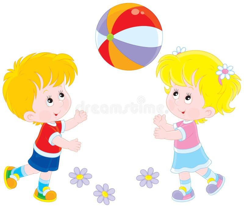 Bambini che giocano una palla royalty illustrazione gratis
