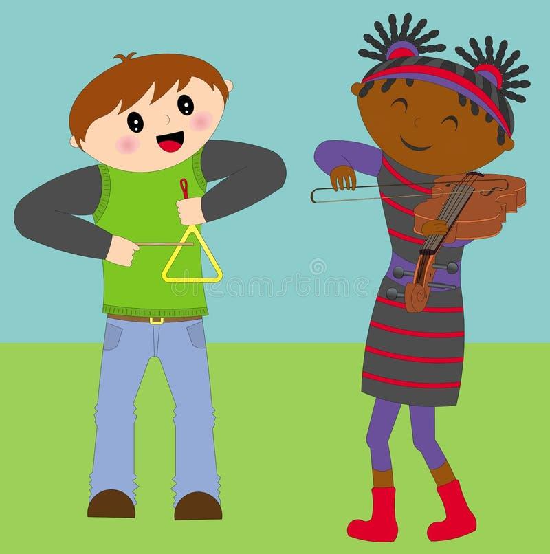 Bambini che giocano violino e triangolo illustrazione di stock