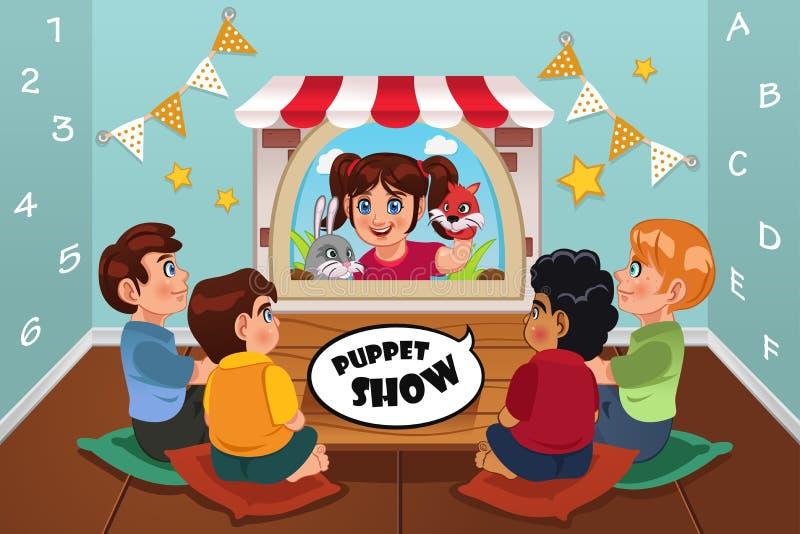 Bambini che guardano spettacolo di burattini illustrazione vettoriale