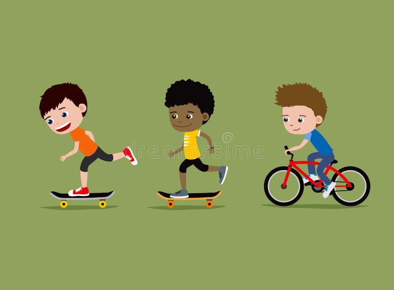 Bambini che guidano i pattini e bici Tre ragazzini royalty illustrazione gratis