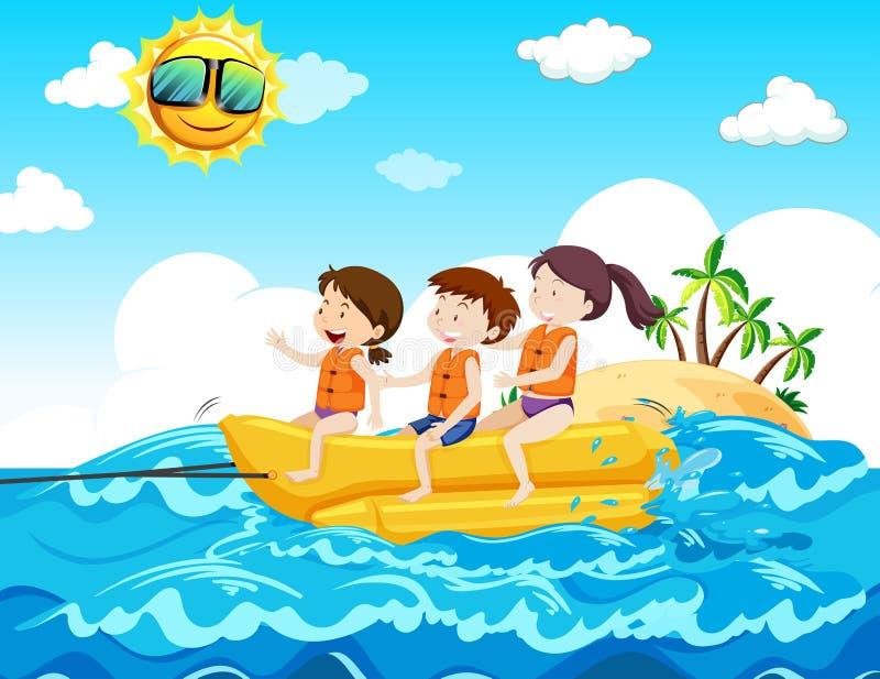 Bambini che guidano la barca di banana alla spiaggia illustrazione di stock