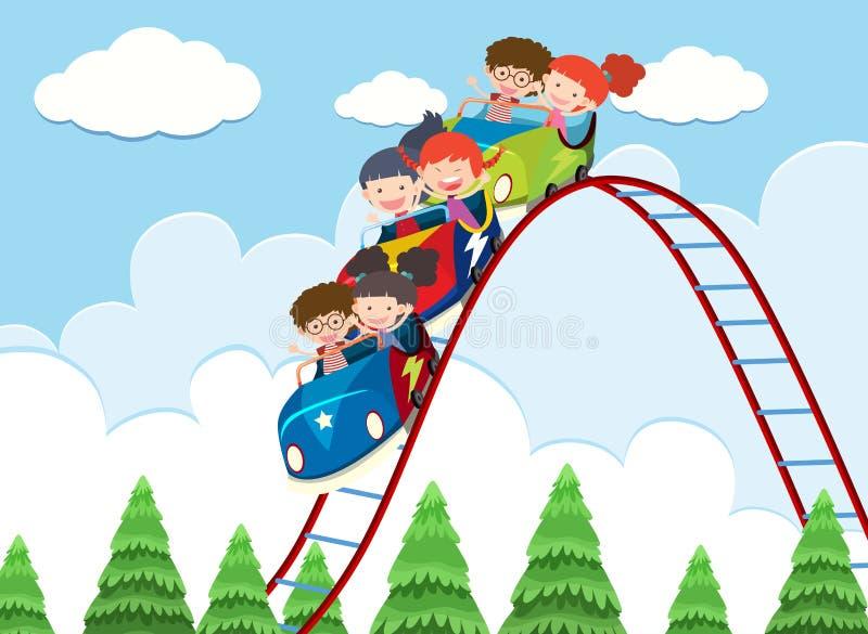 Bambini che guidano montagne russe illustrazione di stock