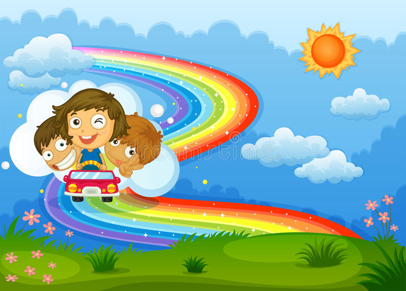 Bambini che guidano su un veicolo che passa attraverso l'arcobaleno illustrazione vettoriale