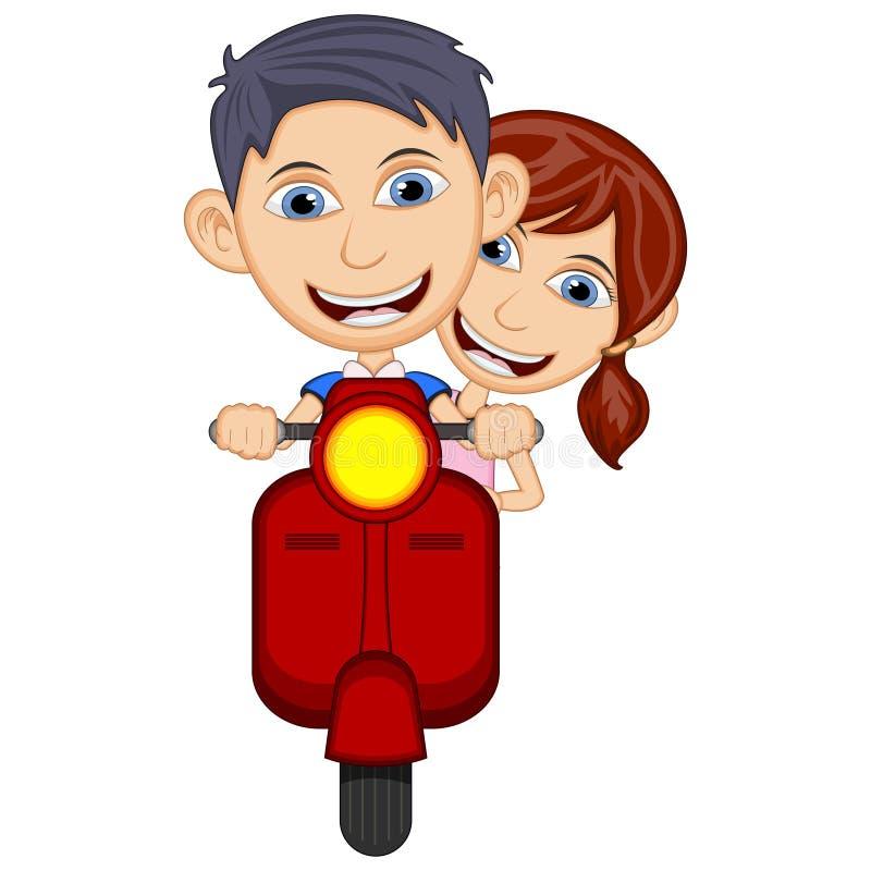 Bambini che guidano un'illustrazione di vettore del fumetto del motorino illustrazione vettoriale