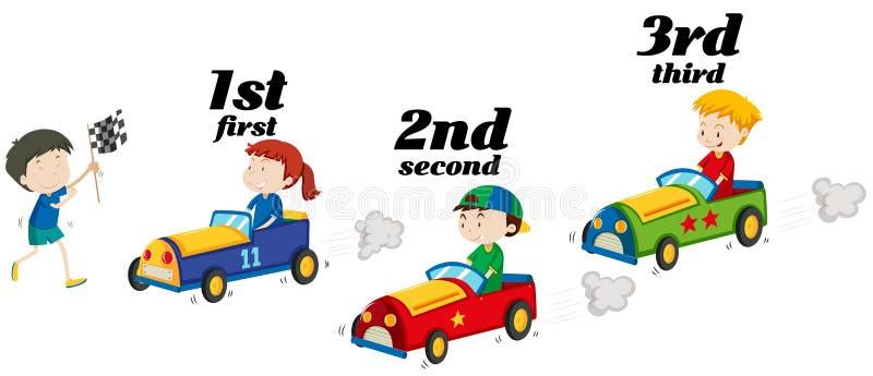 Bambini che guidano vettura da corsa in una corsa illustrazione di stock