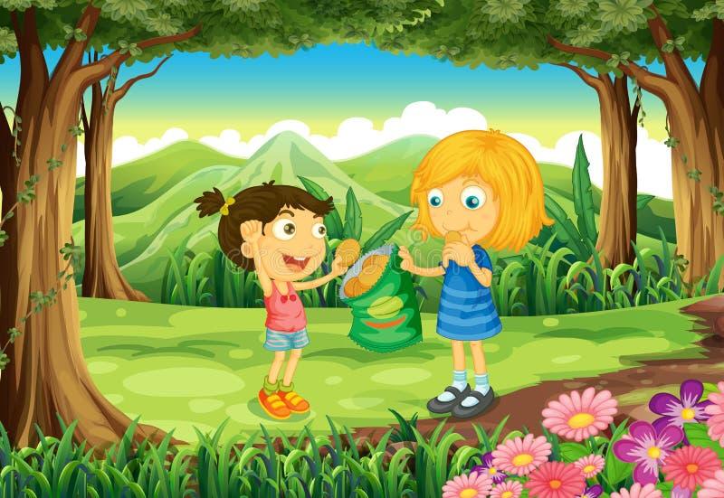 Bambini che mangiano le porcherie in mezzo alla foresta illustrazione di stock