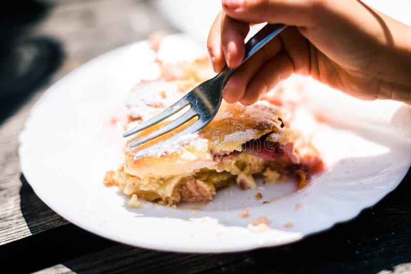 Bambini che mangiano lo strudel della ciliegia e del formaggio con zucchero sulla cima fotografia stock libera da diritti
