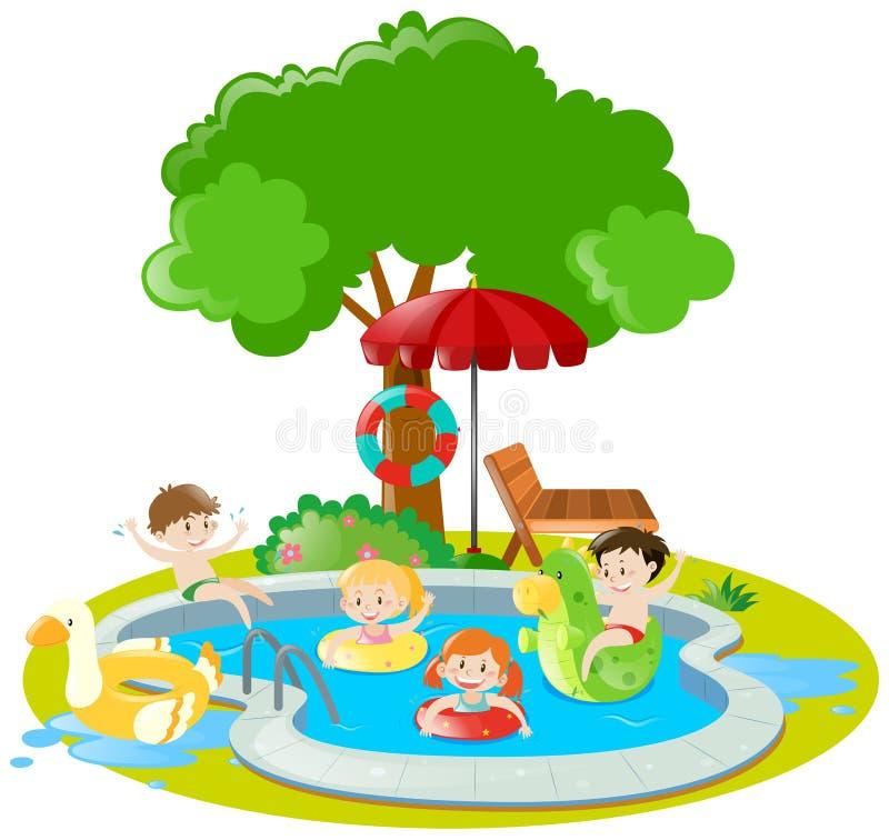Bambini che nuotano nella piscina illustrazione di stock