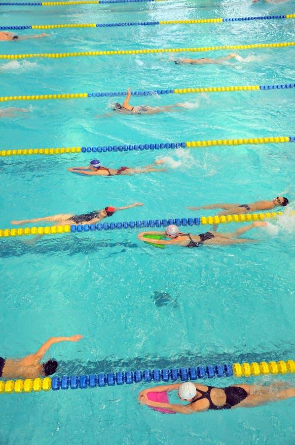 Bambini che nuotano nello stagno immagine stock libera da diritti