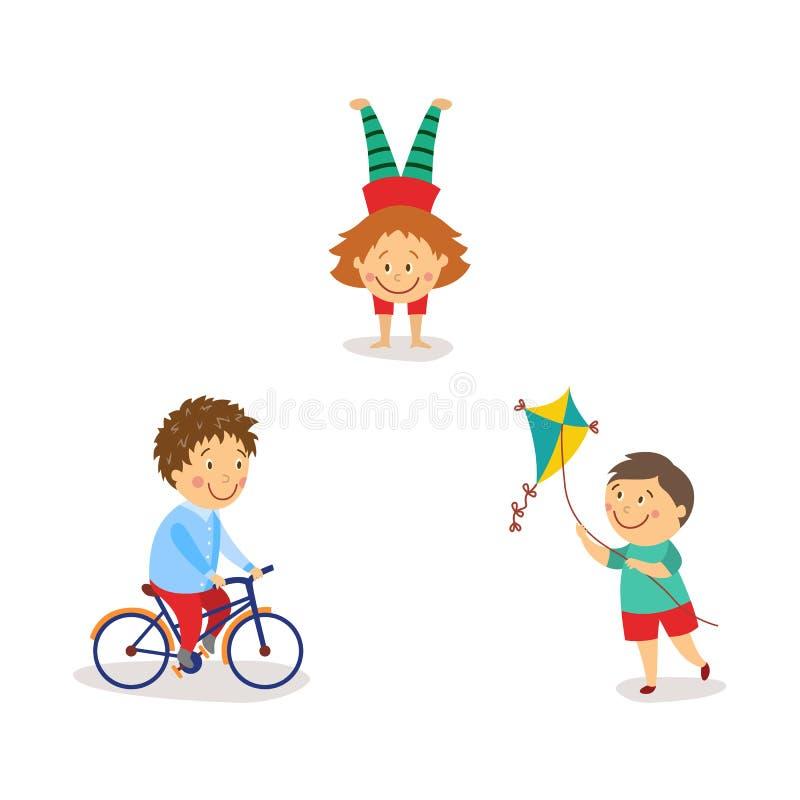 Bambini che pilotano aquilone, bicicletta di guida, facente verticale royalty illustrazione gratis