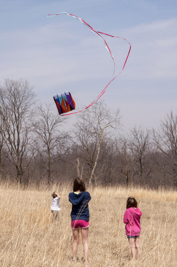 Bambini che pilotano un aquilone immagine stock libera da diritti