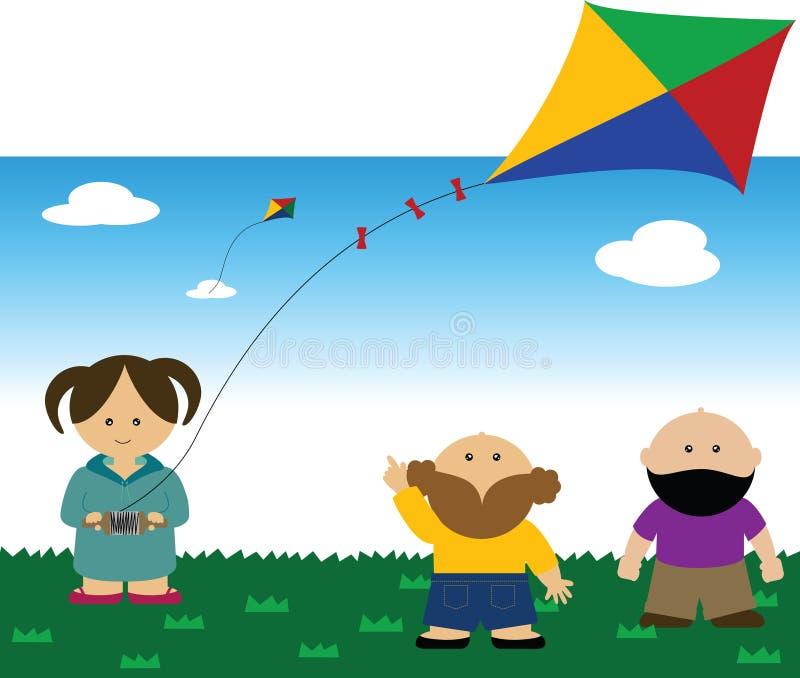 Bambini che pilotano un cervo volante illustrazione vettoriale