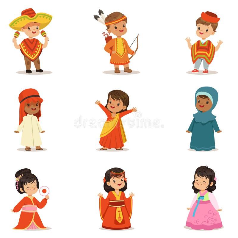 Bambini che portano i costumi nazionali della raccolta differente dei paesi dei ragazzi e delle ragazze svegli in vestiti che rap illustrazione vettoriale