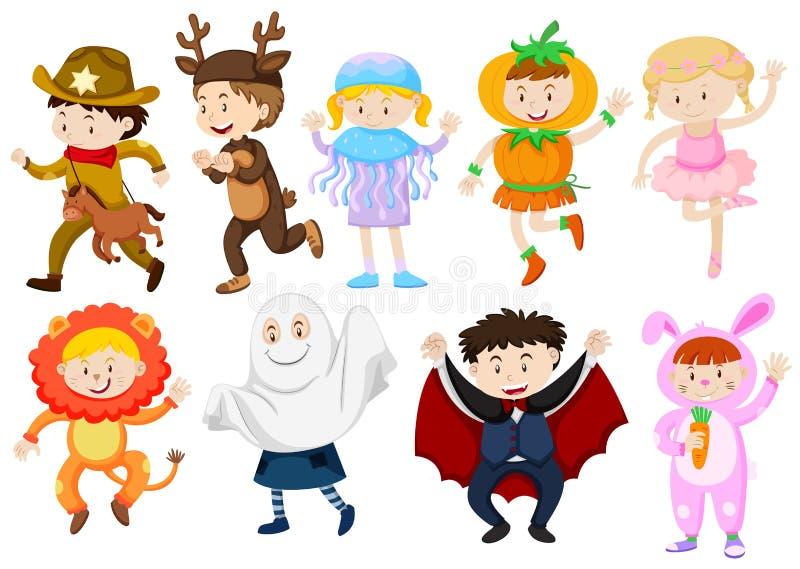Bambini che portano i costumi per Halloween e giochi royalty illustrazione gratis