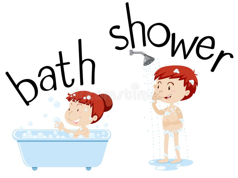 Bambini che prendono bagno e doccia illustrazione di stock