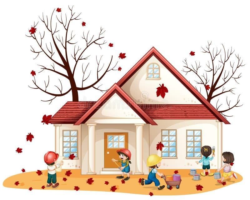 Bambini che puliscono casa illustrazione vettoriale