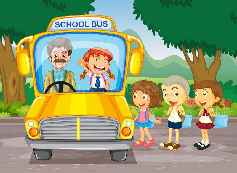 Bambini che salgono scuolabus illustrazione vettoriale
