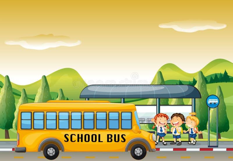 Bambini che salgono scuolabus alla fermata dell'autobus illustrazione di stock