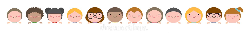 Bambini che sbirciano dietro il cartello isolato su fondo bianco pronto per il vostro testo, illustrazione di vettore illustrazione di stock