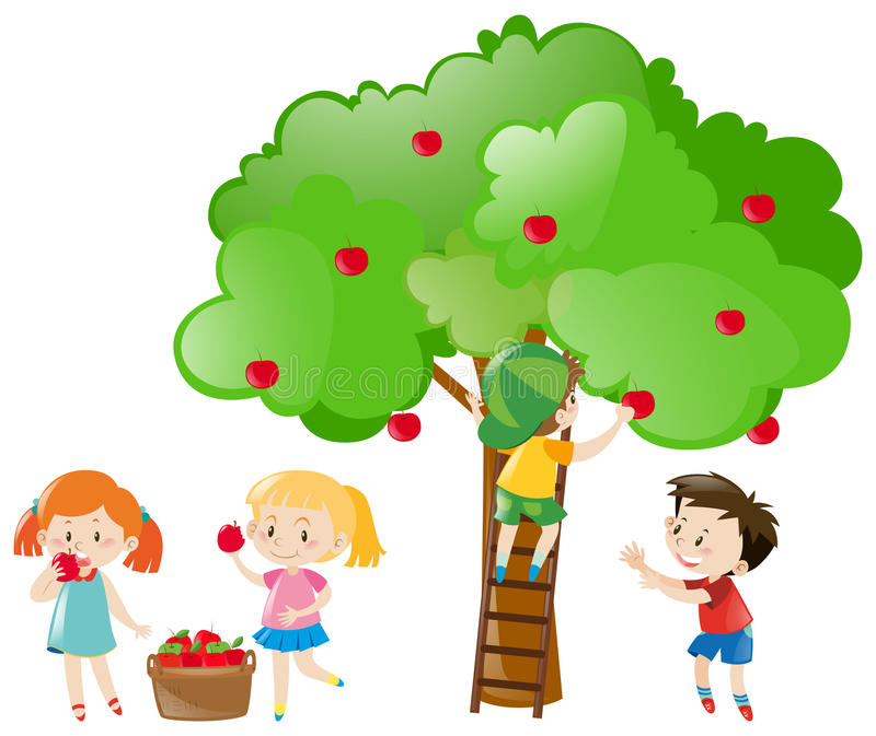 Bambini che selezionano le mele dall'albero illustrazione vettoriale