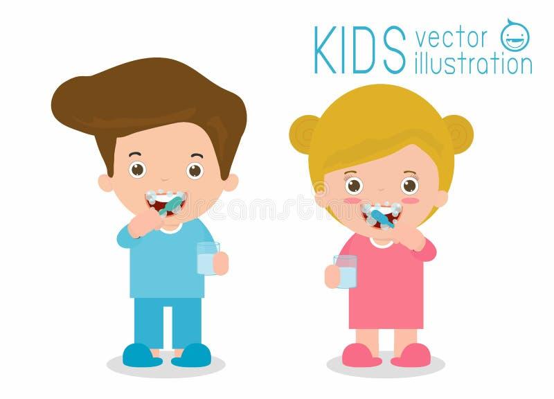 Bambini che si preoccupano per i denti, bambini che puliscono i denti di spazzolatura dei denti, del ragazzo e della ragazza, bam illustrazione vettoriale