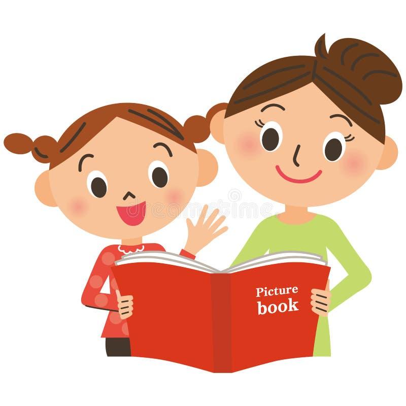 Bambini che si riuniscono per la madre che legge un libro illustrato royalty illustrazione gratis